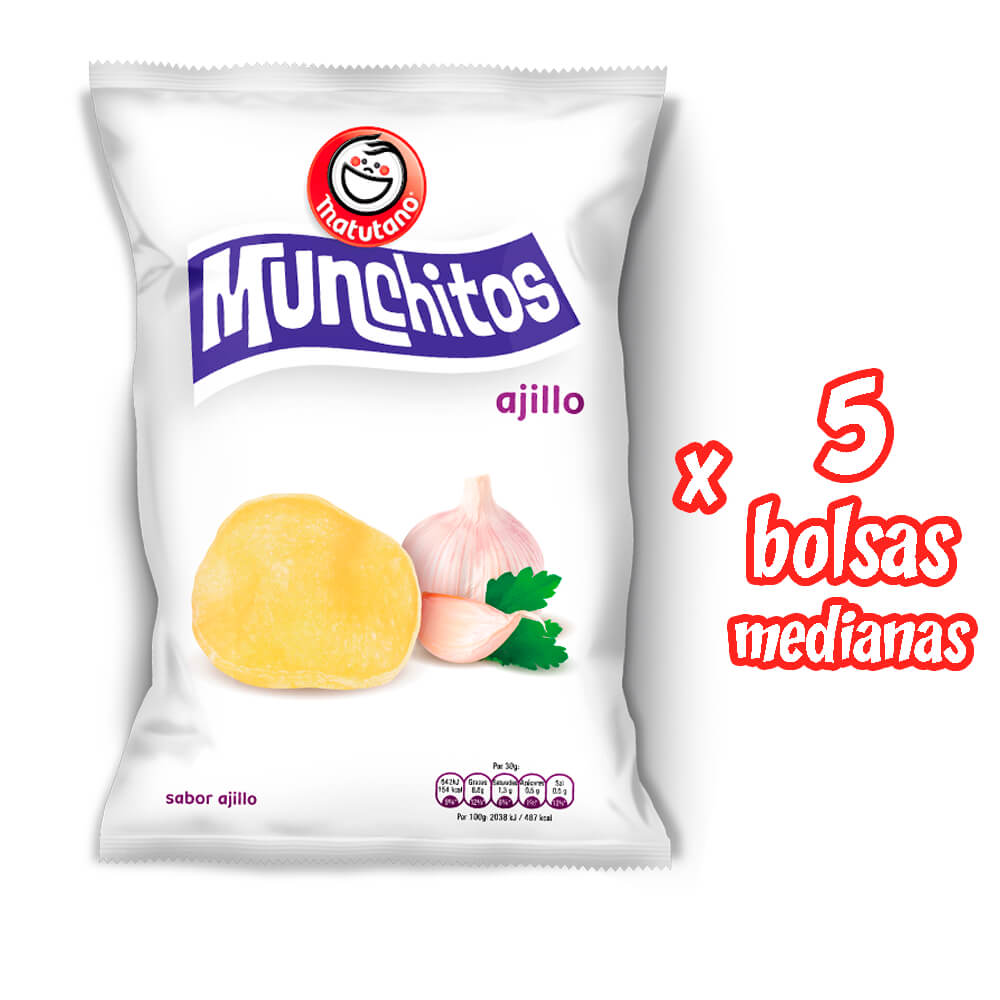 Munchitos Ajillo lote 5 bolsas medianas