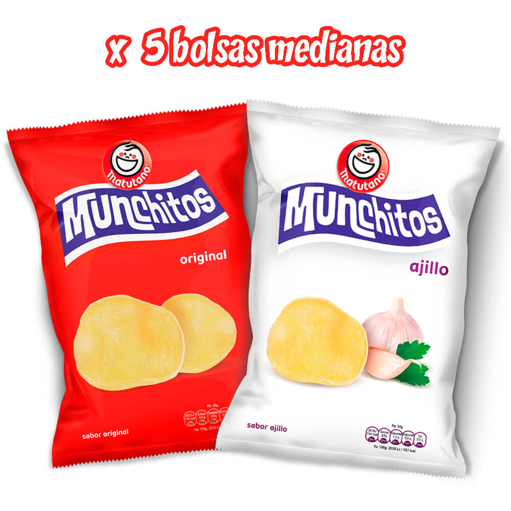 Munchitos Original y Ajillo lote 5 bolsas medianas