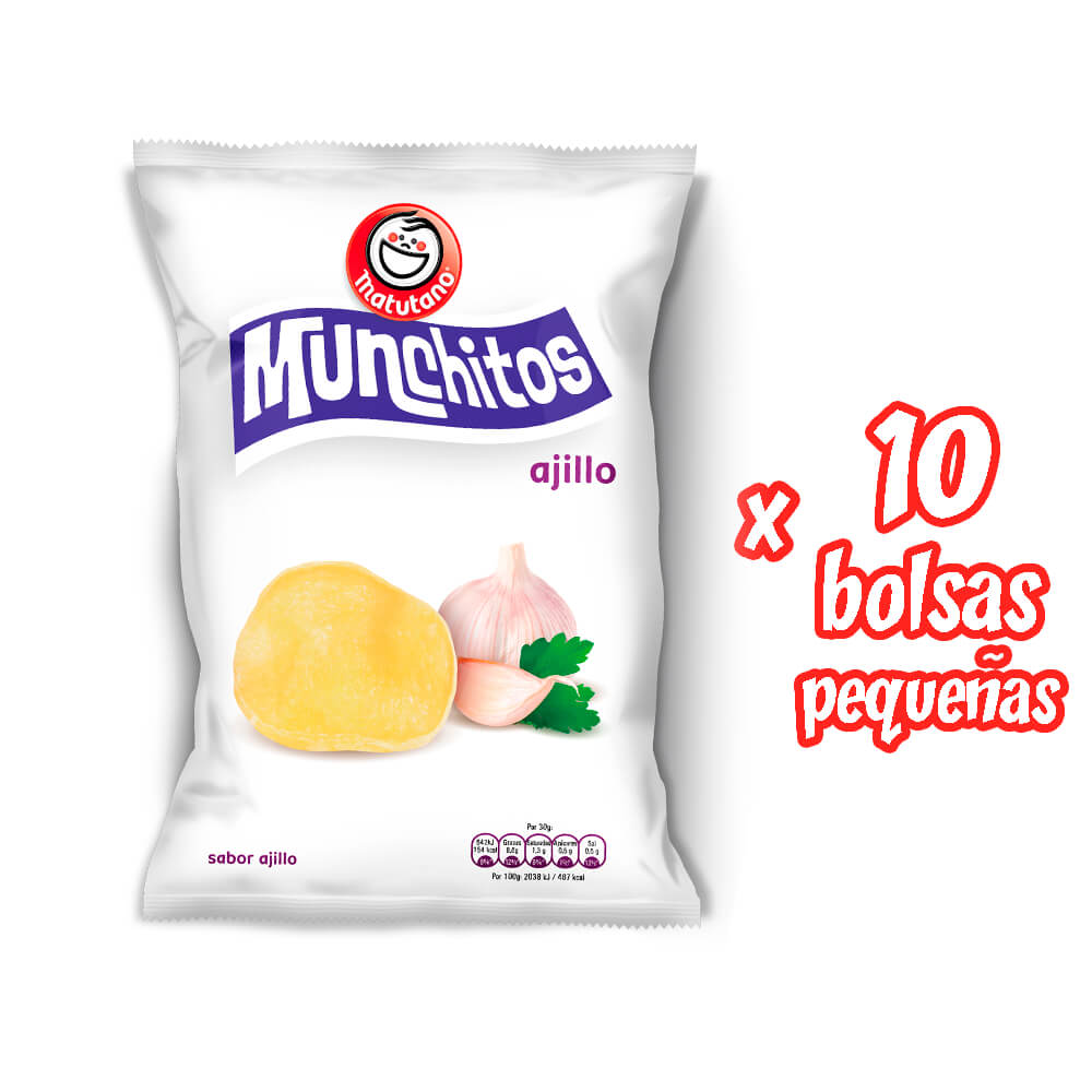Munchitos Ajillo lote 10 bolsas pequeñas