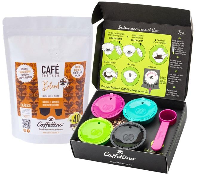 Caffettino 4 Capsulas rellenables para Dolce Gusto y Café de Especialidad Blend (Colombia y Brasil).