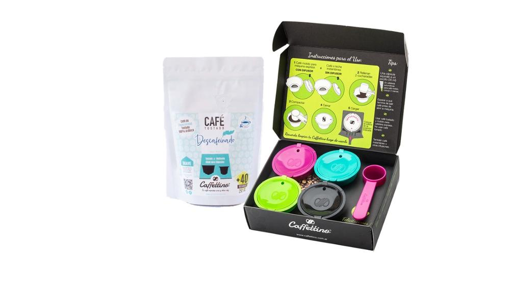 Caffettino 4 Capsulas rellenables para Dolce Gusto y Café de Especialidad Descafeinado.