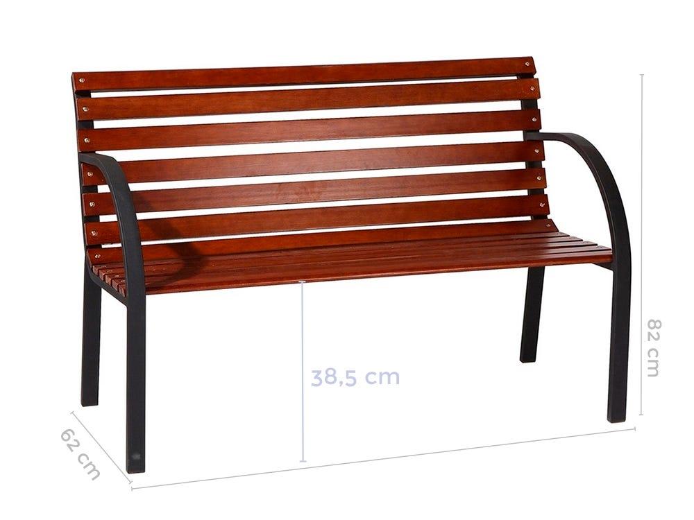 BANCO JARDIN MADERA/ACERO 120X62X82