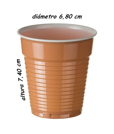 VASO PLASTICO PP MARRON/BLANCO 150CC (CAJA 3000 UND)