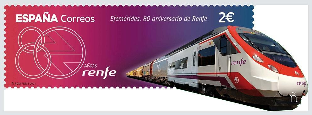 Sello 80 aniversario de RENFE