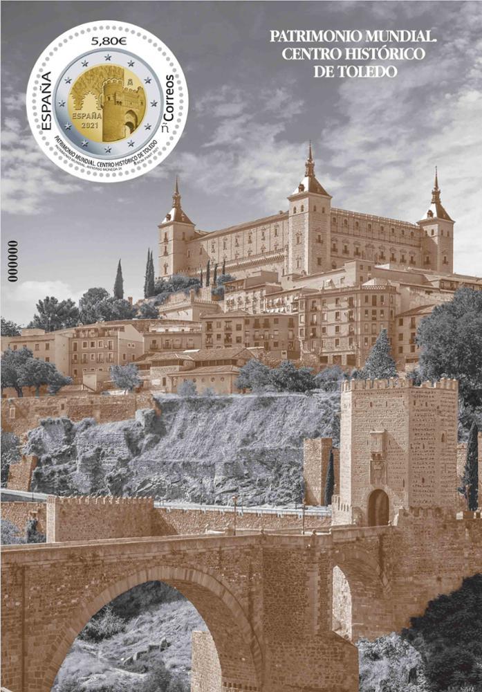 Sello Patrimonio Mundial 2021. Centro Histórico de Toledo (hoja bloque)