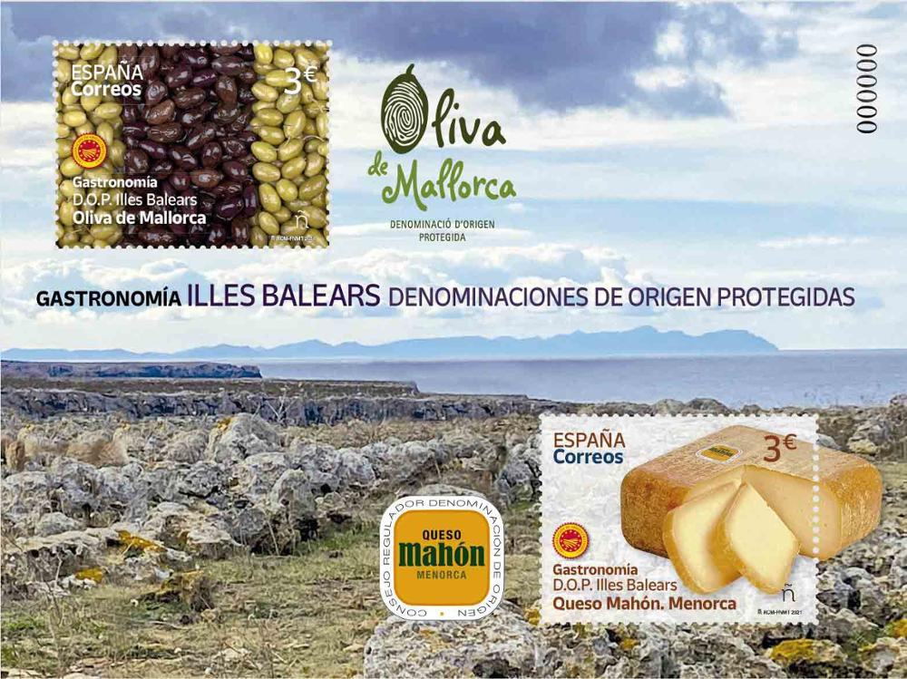 Sello Gastronomía DO Baleares 2021 (hoja bloque)