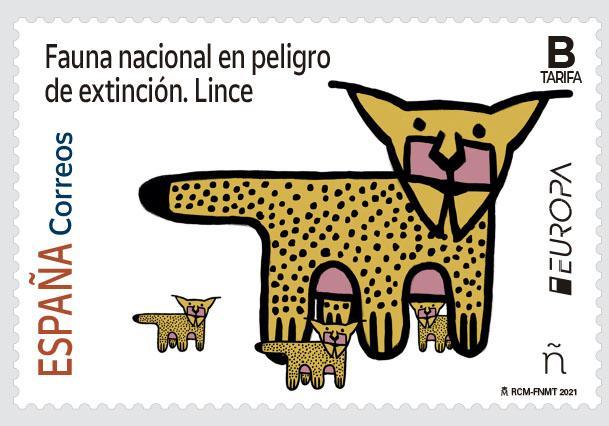 Sello Fauna nacional en peligro de extinción. Lince (pack de 5)