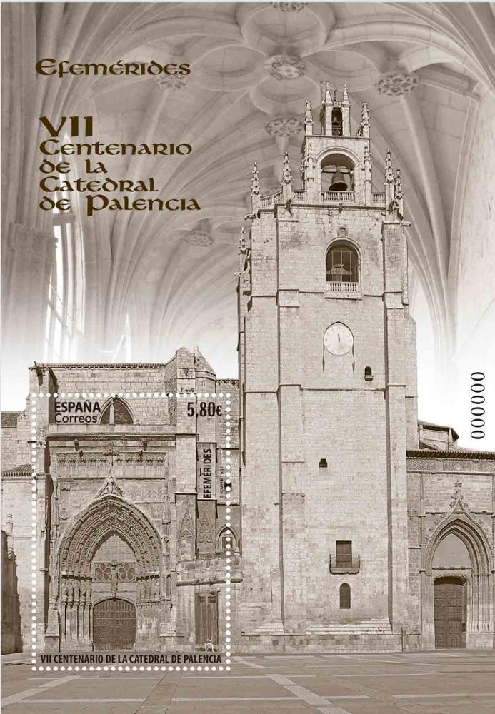 Sello VII Centenario de la Catedral de Palencia (hoja bloque)