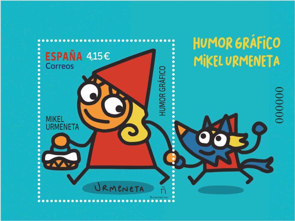 Sello humor gráfico Mikel Urmeneta (hoja bloque)
