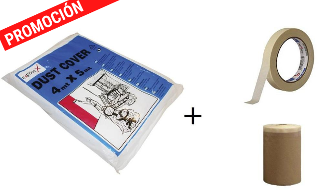 Kit de cubretodo 4X5+ cinta carrocero 24mm+ cinta con papel 10cm