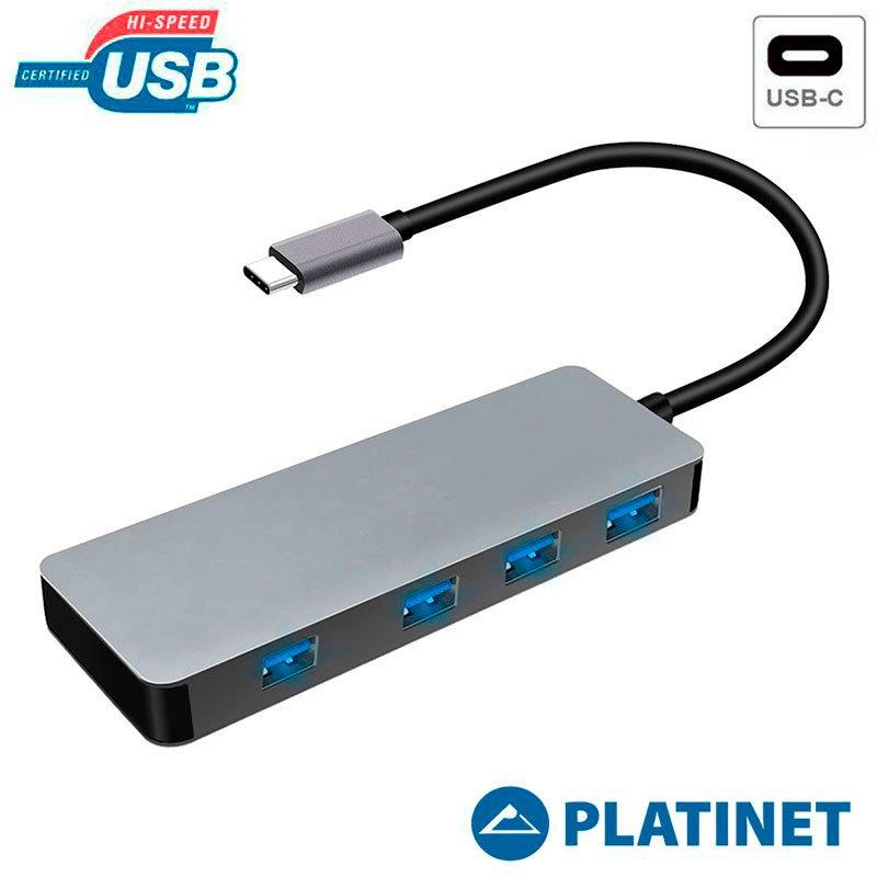 PLATINET CABLE HUB X4 USB ADAPTADOR COMPATIBLE TIPO C
