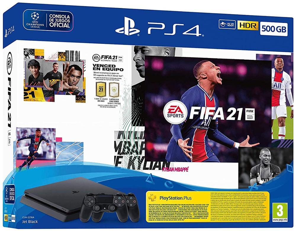 SONY Consola PS4 500GB Slim + FIFA 21 + Dualshock adicional + FUT VCH