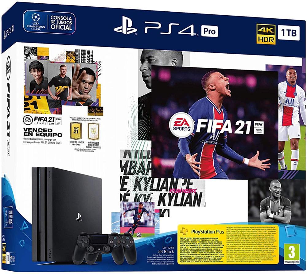 SONY Consola PS4 Pro 1TB + FIFA 21 + Dualshock adicional + FUT VCH