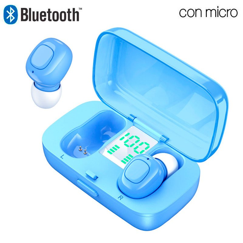 COOL Auriculares Stereo Bluetooth Dual Pod Earbuds DISPLAY - Celeste