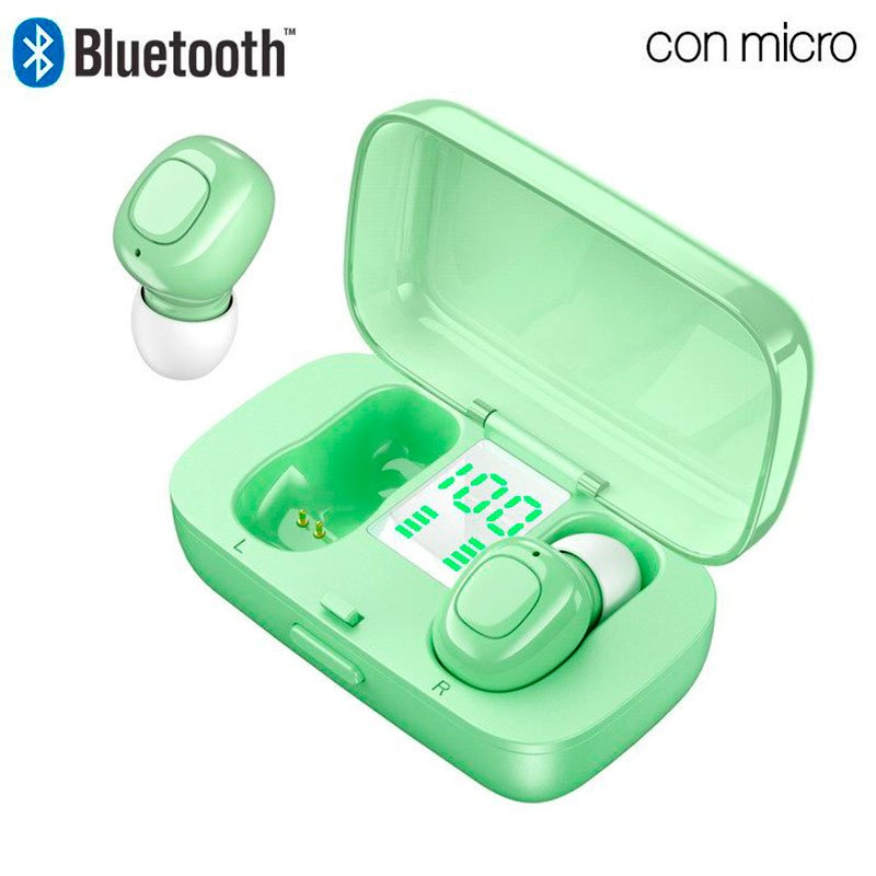 COOL Auriculares Stereo Bluetooth Dual Pod Earbuds DISPLAY - Verde
