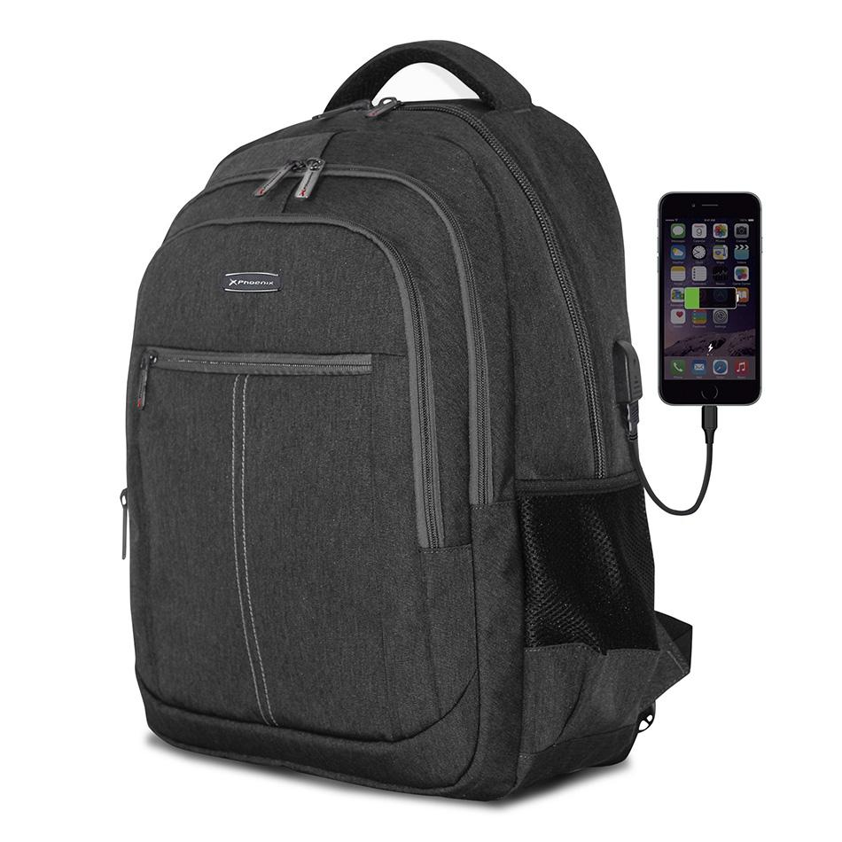"PHOENIX Mochila Boston para Portatil hasta 15.6"" con Cable USB Negro PHBOSTONB"