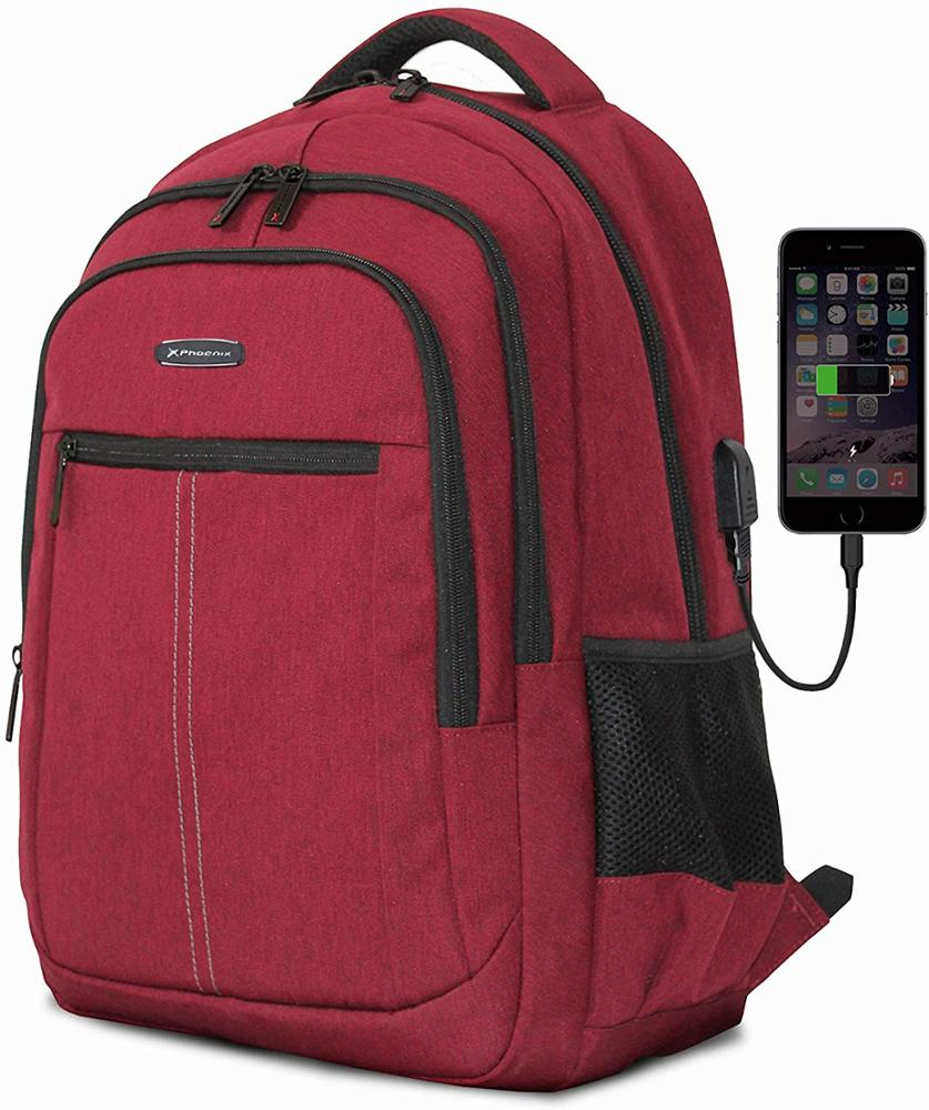 "PHOENIX Mochila Boston para Portatil hasta 15.6"" con Cable USB Rojo PHBOSTONR"