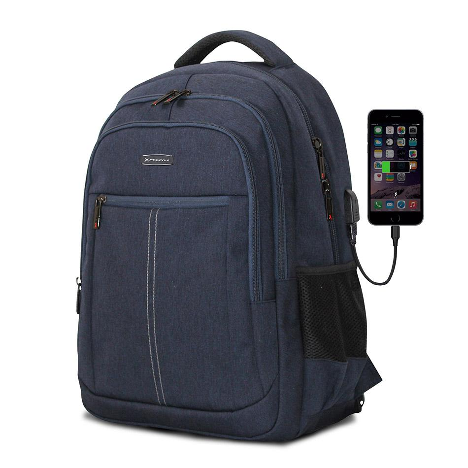 "PHOENIX Mochila Boston para Portatil hasta 15.6"" con Cable USB Azul PHBOSTOBL"