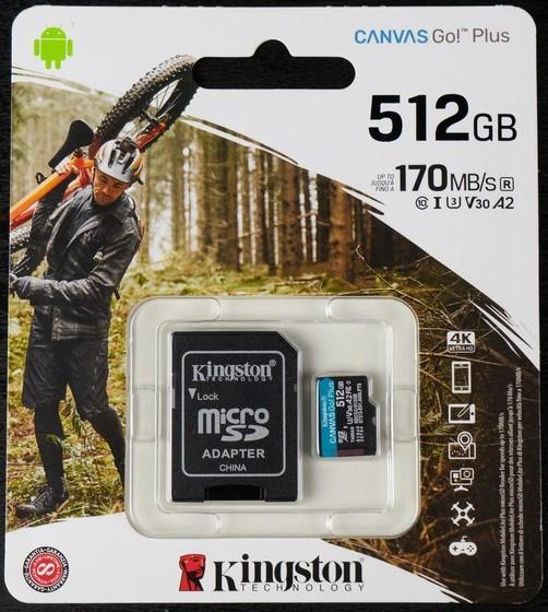 KINGSTON MEMORIA MICROSD 512GB CANVAS GO PLUS 170R U3 V30
