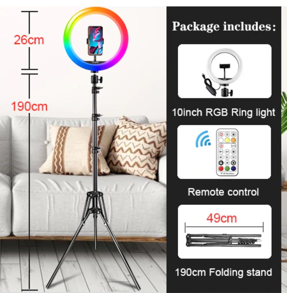 Anillo Led 26cm Regulable para Selfie Color tripode 180cm Bulk