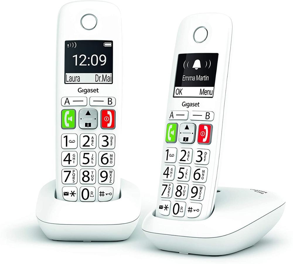 GIGASET Telefono Fijo Inalambrico E290 Duo - Blanco
