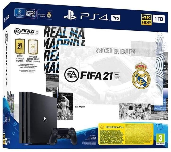 SONY Consola PS4 Pro 1TB + FIFA 21 Ed. Real Madrid