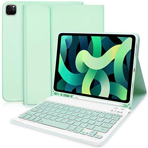 """Funda con Teclado y Raton para iPad Pro 12,9"""" 2018 Verde con Blanco y Verde"""