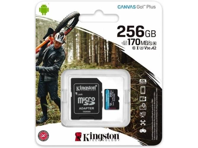 KINGSTON MEMORIA MICROSD 256GB CANVAS GO PLUS 170R U3 V30