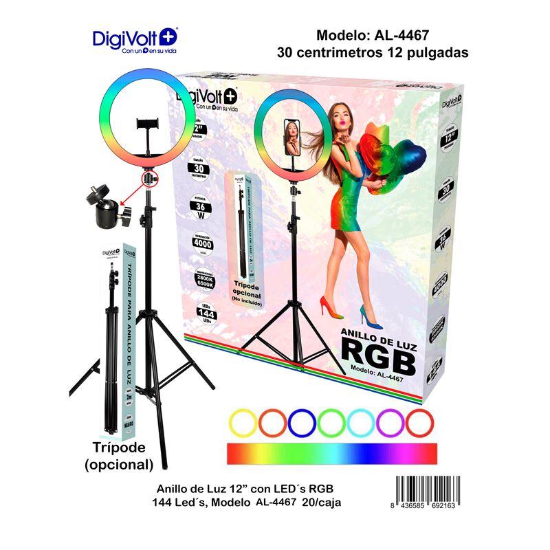 DIGIVOLT Anillo de Luz RGB AL-4467 con Trípode 2m
