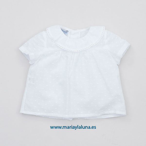Pangasa Blusa Plumeti Cuello Bolillo Blanco