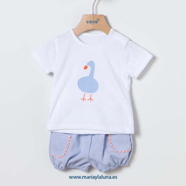 Camiseta y Short Coco Acqua 9, 18 y 24 meses