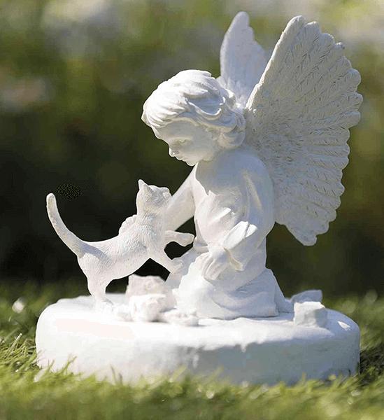piedra conmemorativa gato con angel