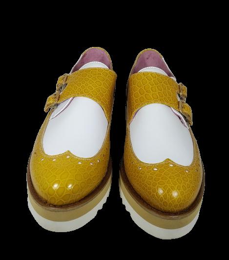 VITELO Zapato piel mostaza y blanco