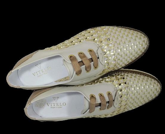 VITELO Zapato piel trenzada oro y beige