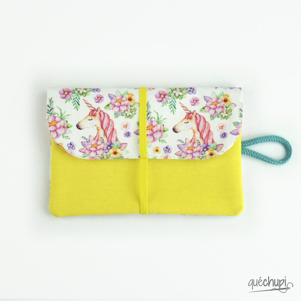Cartera floricornios-amarillo