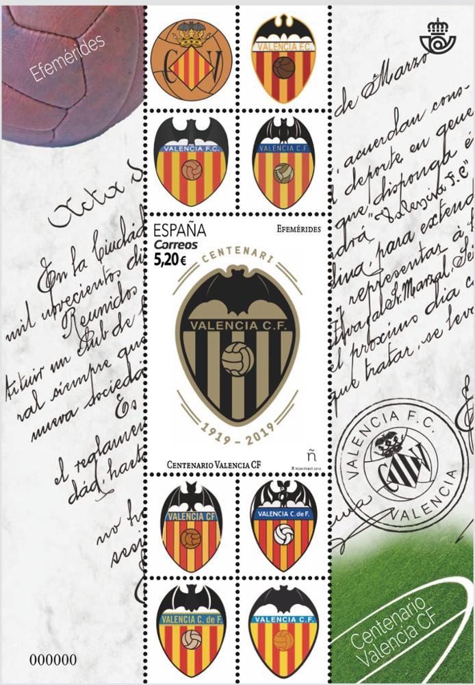 Sello Centenario Valencia CF