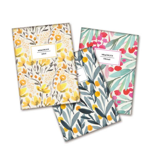 Pack 3 libretas con flores Prodis