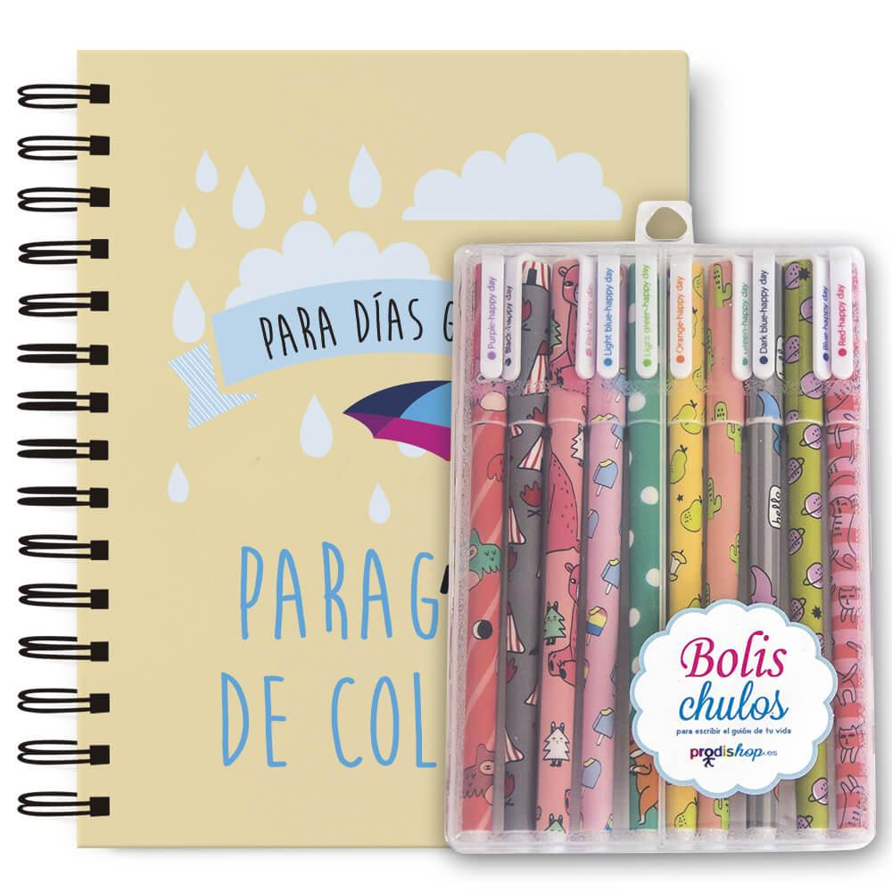 Pack bolígrafos + cuaderno A5 paraguas Prodis