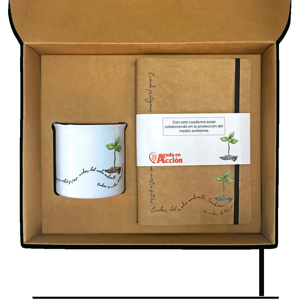 Pack taza + cuaderno medioambiente Ayuda en Acción